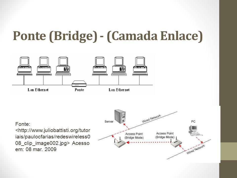 Switch (Camada Enlace) O Switch é um equipamento que envia os pacotes somente para o computador que os requisitou através da análise do endereço MAC contido no cabeçalho do pacote, da mesma forma que uma Bridge; De maneira geral, a função do switch é muito parecida com a de uma ponte, com a exceção que ele tem mais portas e um melhor desempenho; Outra vantagem é que mais de uma comunicação pode ser estabelecida simultaneamente, desde que as comunicações não envolvam portas de origem ou destino que já estejam sendo usadas em outras comunicações.