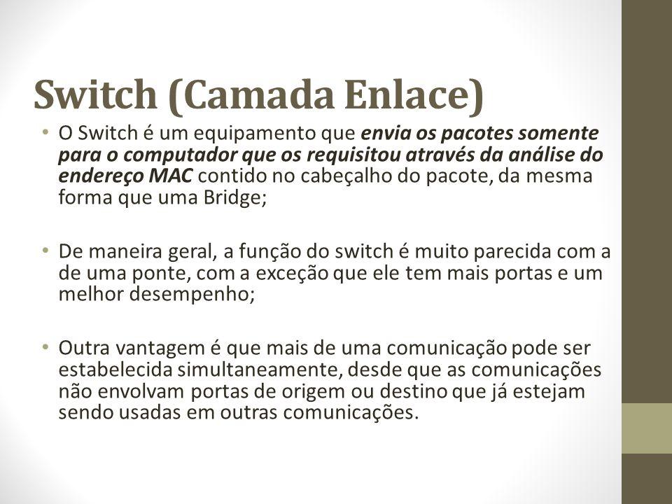 Switch (Camada Enlace) O Switch é um equipamento que envia os pacotes somente para o computador que os requisitou através da análise do endereço MAC c
