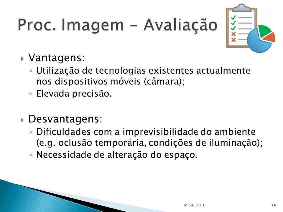  Vantagens: ◦ Utilização de tecnologias existentes actualmente nos dispositivos móveis (câmara); ◦ Elevada precisão.