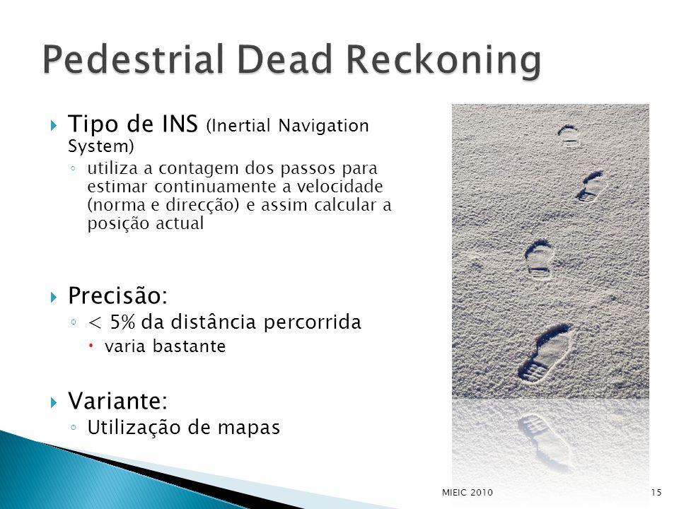  Tipo de INS (Inertial Navigation System) ◦ utiliza a contagem dos passos para estimar continuamente a velocidade (norma e direcção) e assim calcular