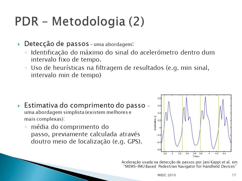  Detecção de passos – uma abordagem : ◦ Identificação do máximo do sinal do acelerómetro dentro dum intervalo fixo de tempo.