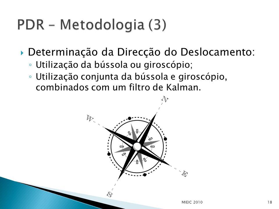  Determinação da Direcção do Deslocamento: ◦ Utilização da bússola ou giroscópio; ◦ Utilização conjunta da bússola e giroscópio, combinados com um fi