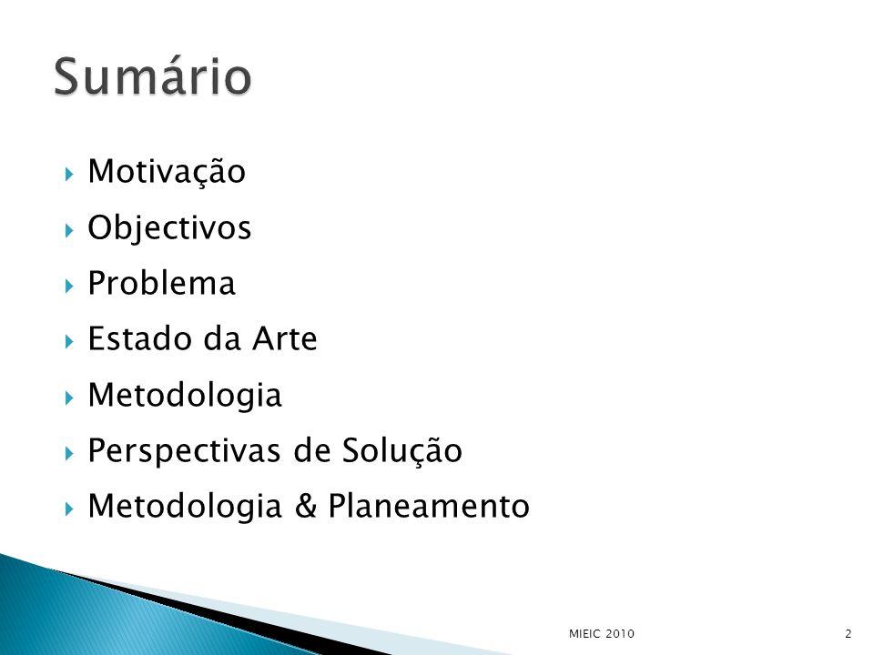  Motivação  Objectivos  Problema  Estado da Arte  Metodologia  Perspectivas de Solução  Metodologia & Planeamento MIEIC 20102