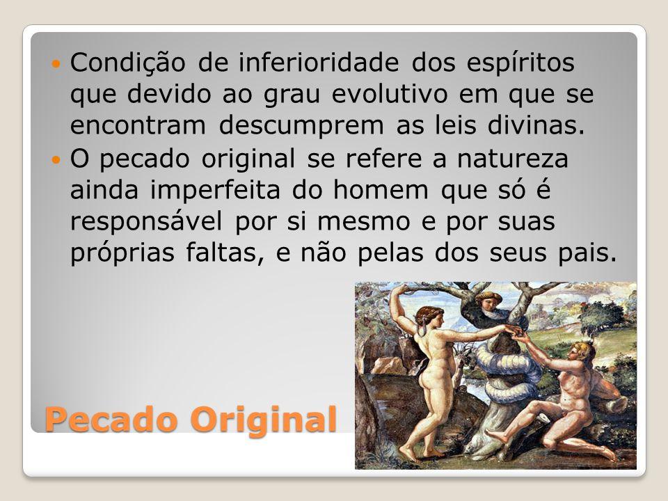 Pecado Original Condição de inferioridade dos espíritos que devido ao grau evolutivo em que se encontram descumprem as leis divinas. O pecado original