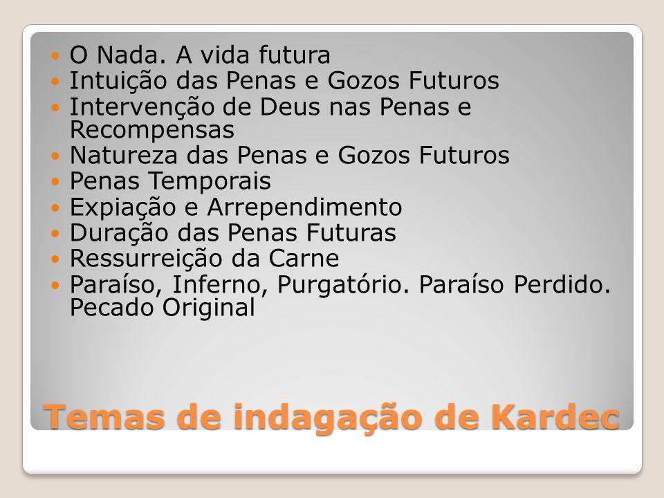 Temas de indagação de Kardec O Nada. A vida futura Intuição das Penas e Gozos Futuros Intervenção de Deus nas Penas e Recompensas Natureza das Penas e