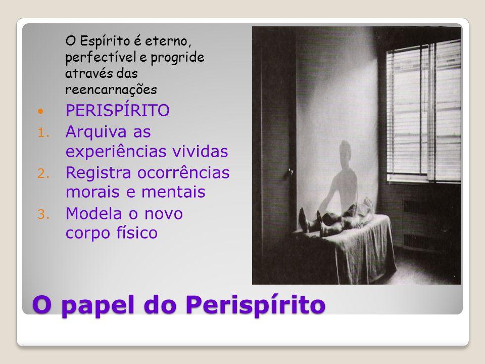 O papel do Perispírito O Espírito é eterno, perfectível e progride através das reencarnações PERISPÍRITO 1. Arquiva as experiências vividas 2. Registr