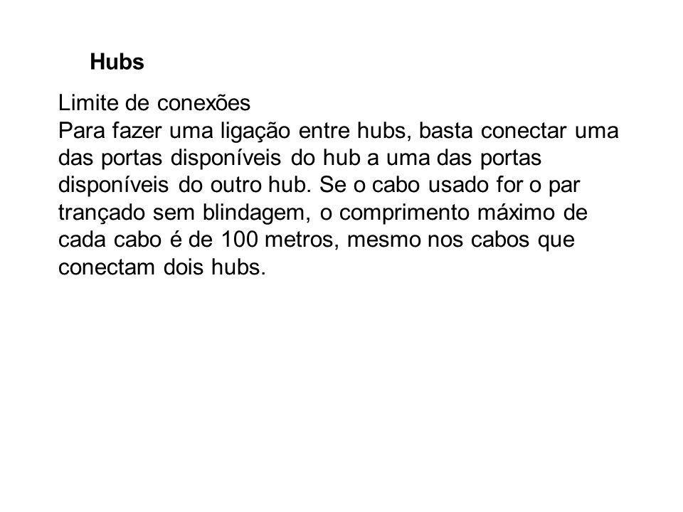 Hubs Limite de conexões Para fazer uma ligação entre hubs, basta conectar uma das portas disponíveis do hub a uma das portas disponíveis do outro hub.
