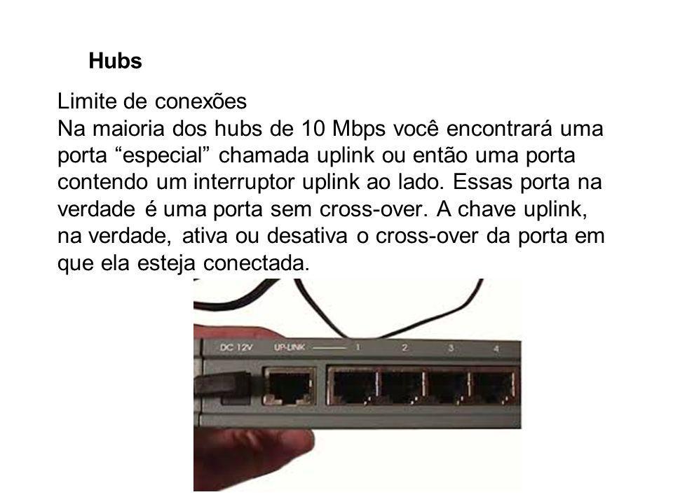 """Hubs Limite de conexões Na maioria dos hubs de 10 Mbps você encontrará uma porta """"especial"""" chamada uplink ou então uma porta contendo um interruptor"""