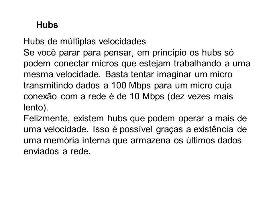 Hubs Hubs de múltiplas velocidades Se você parar para pensar, em princípio os hubs só podem conectar micros que estejam trabalhando a uma mesma veloci