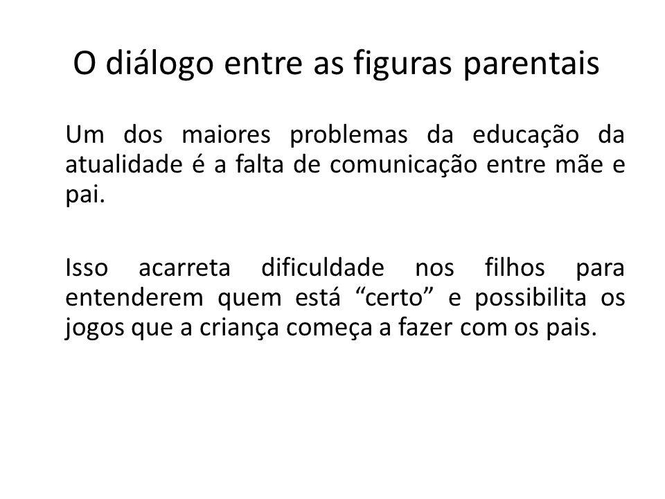 O diálogo entre as figuras parentais Um dos maiores problemas da educação da atualidade é a falta de comunicação entre mãe e pai. Isso acarreta dificu