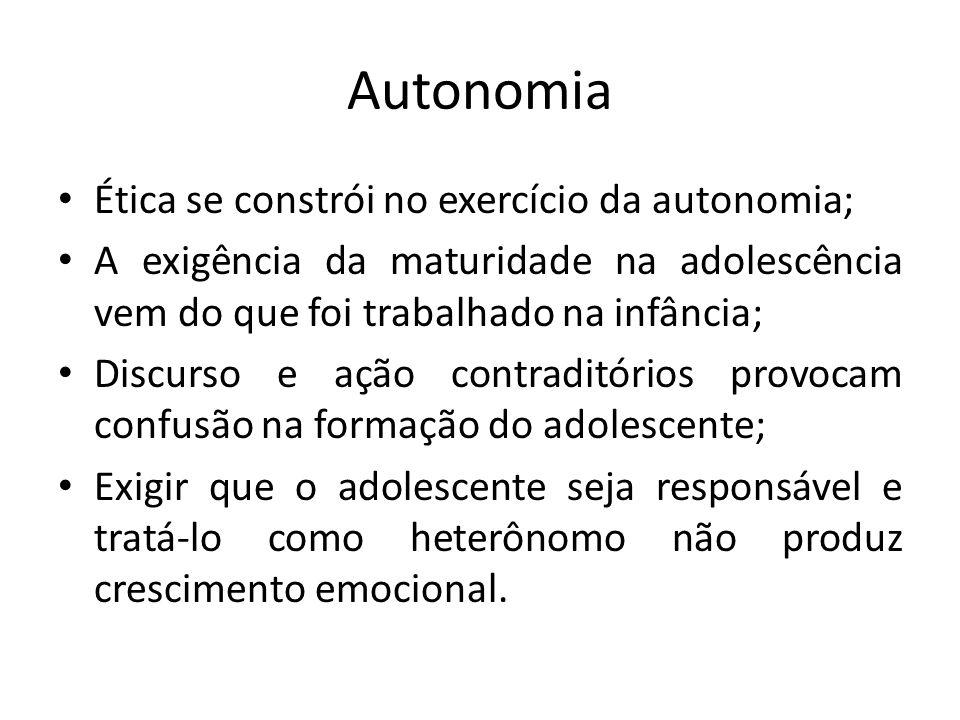 Autonomia Ética se constrói no exercício da autonomia; A exigência da maturidade na adolescência vem do que foi trabalhado na infância; Discurso e açã