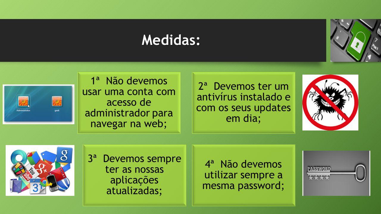 Medidas: 4ª Não devemos utilizar sempre a mesma password; 2ª Devemos ter um antivírus instalado e com os seus updates em dia; 3ª Devemos sempre ter as