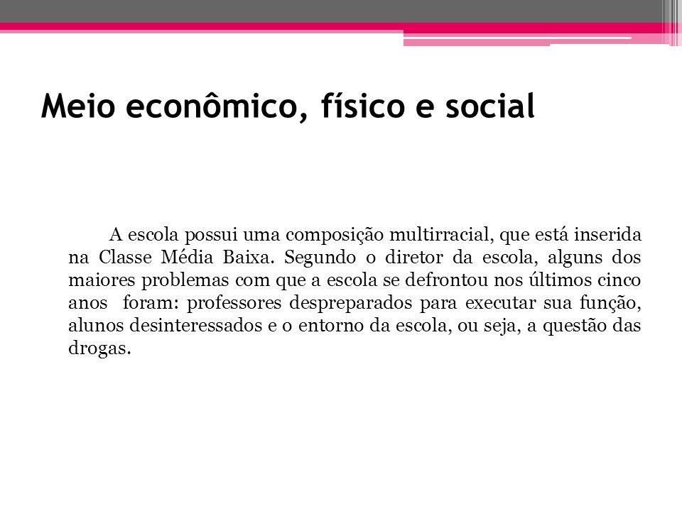 Meio econômico, físico e social A escola possui uma composição multirracial, que está inserida na Classe Média Baixa. Segundo o diretor da escola, alg