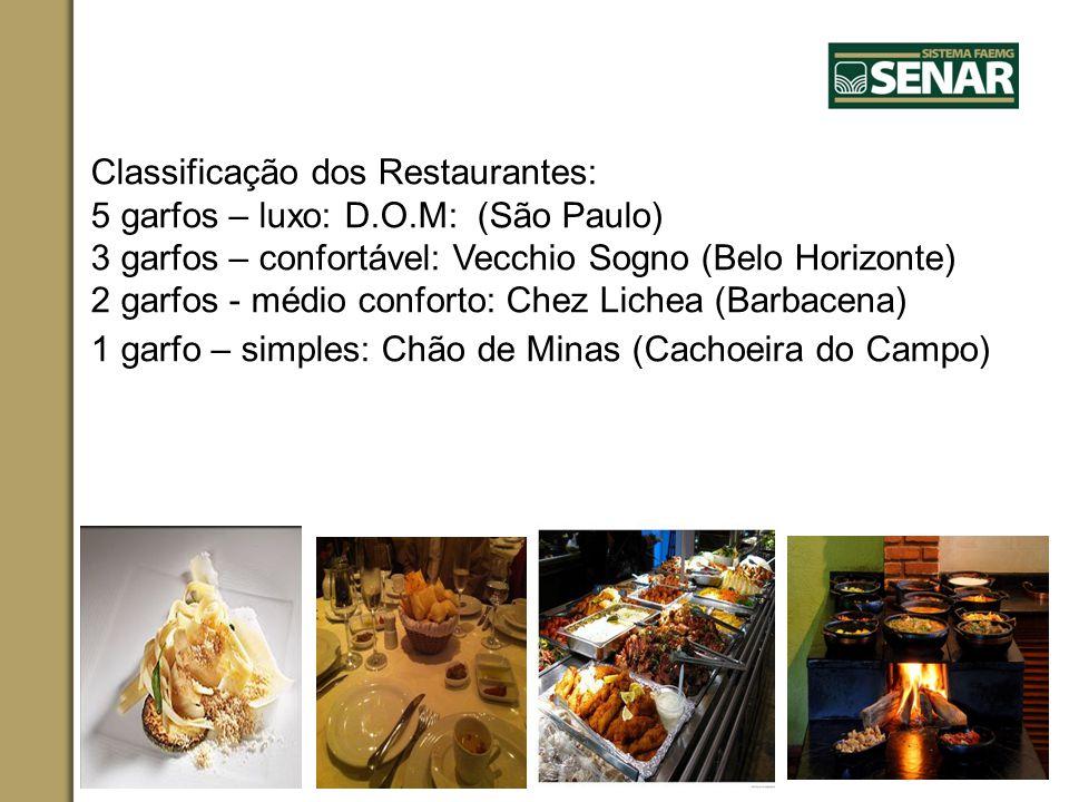 Classificação dos Restaurantes: 5 garfos – luxo: D.O.M: (São Paulo) 3 garfos – confortável: Vecchio Sogno (Belo Horizonte) 2 garfos - médio conforto: Chez Lichea (Barbacena) 1 garfo – simples: Chão de Minas (Cachoeira do Campo)