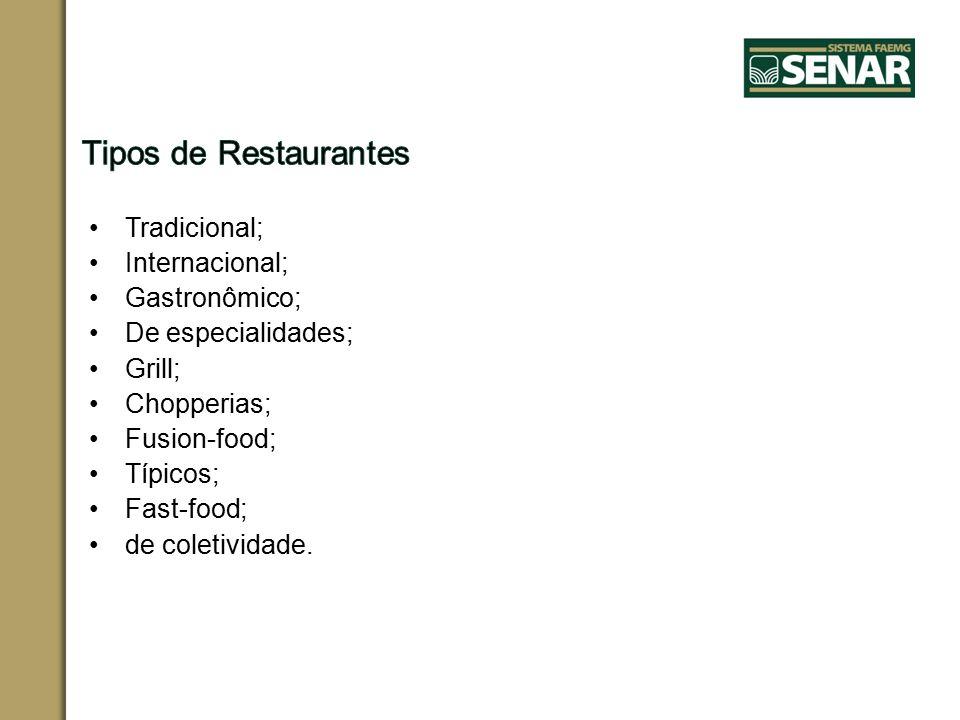 Tradicional; Internacional; Gastronômico; De especialidades; Grill; Chopperias; Fusion-food; Típicos; Fast-food; de coletividade.
