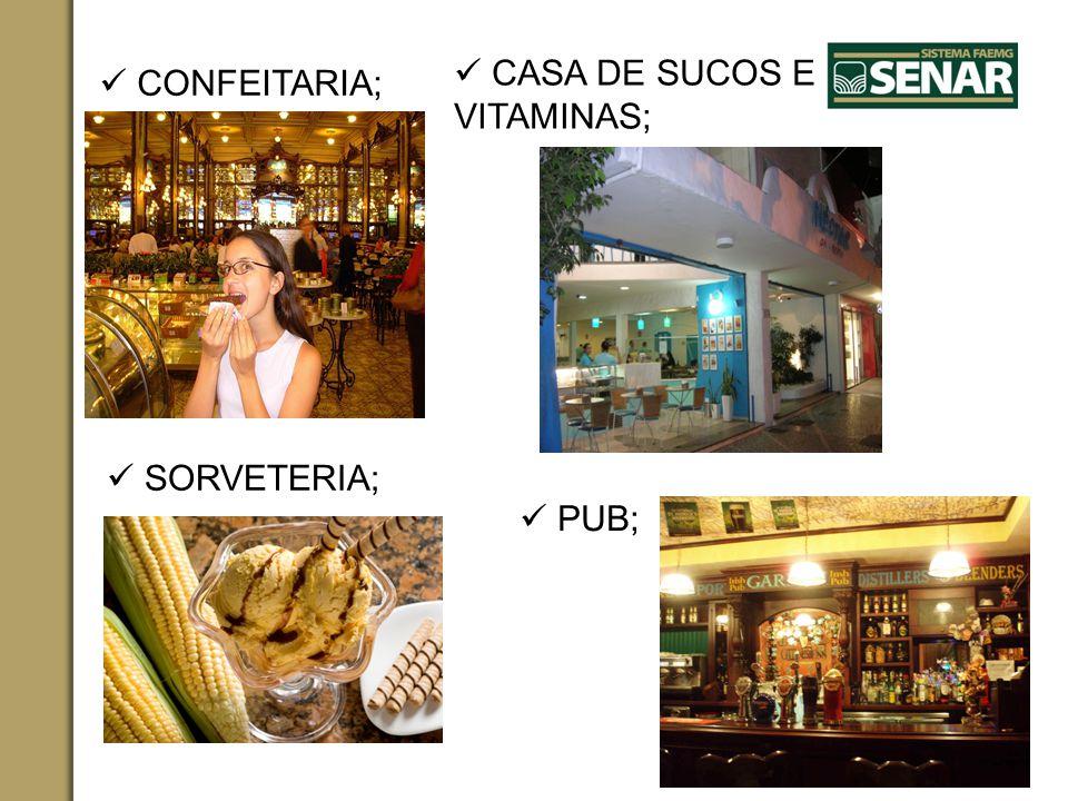 CONFEITARIA; SORVETERIA; CASA DE SUCOS E VITAMINAS; PUB;