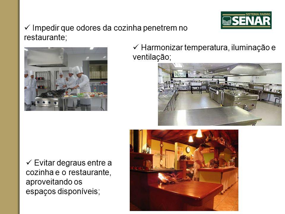 Impedir que odores da cozinha penetrem no restaurante; Harmonizar temperatura, iluminação e ventilação; Evitar degraus entre a cozinha e o restaurante, aproveitando os espaços disponíveis;