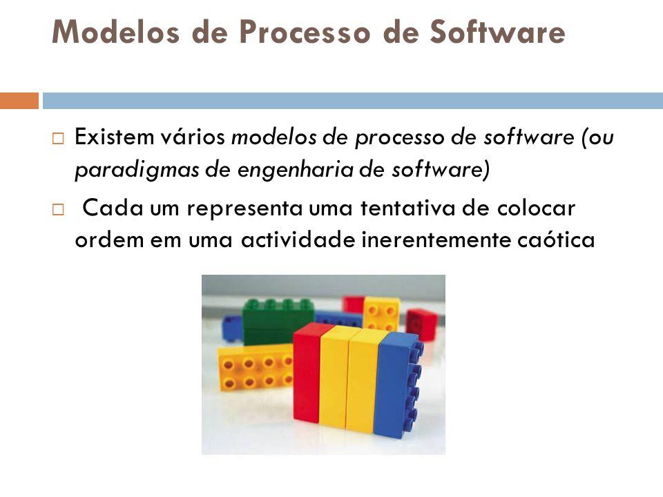 Modelos de Processo de Software  Existem vários modelos de processo de software (ou paradigmas de engenharia de software)  Cada um representa uma te