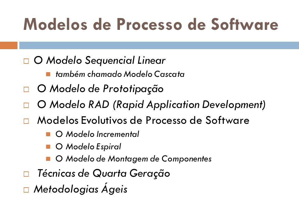 Modelos de Processo de Software  O Modelo Sequencial Linear também chamado Modelo Cascata  O Modelo de Prototipação  O Modelo RAD (Rapid Applicatio