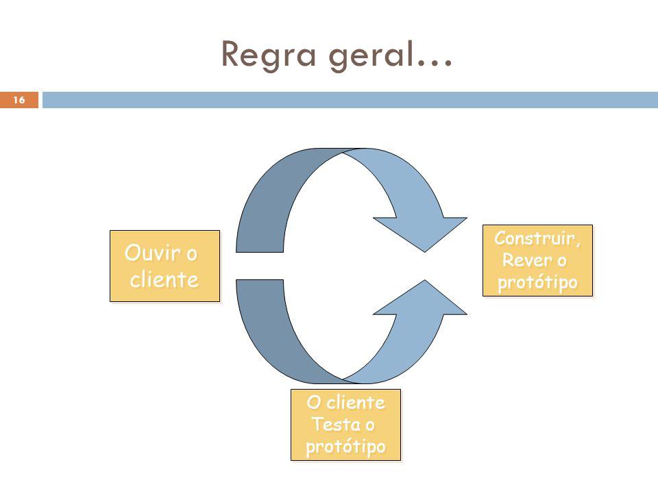 16 Regra geral… Ouvir o cliente Ouvir o cliente Construir, Rever o protótipo Construir, Rever o protótipo O cliente Testa o protótipo O cliente Testa