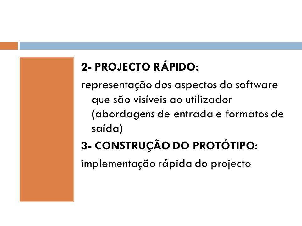 2- PROJECTO RÁPIDO: representação dos aspectos do software que são visíveis ao utilizador (abordagens de entrada e formatos de saída) 3- CONSTRUÇÃO DO
