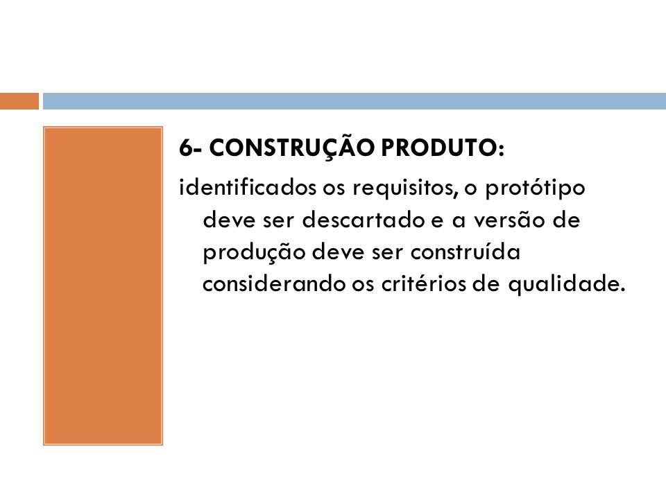 6- CONSTRUÇÃO PRODUTO: identificados os requisitos, o protótipo deve ser descartado e a versão de produção deve ser construída considerando os critéri