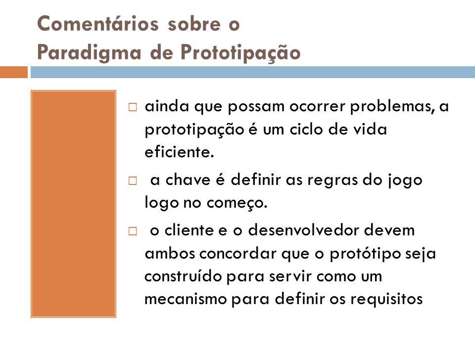 Comentários sobre o Paradigma de Prototipação  ainda que possam ocorrer problemas, a prototipação é um ciclo de vida eficiente.  a chave é definir a