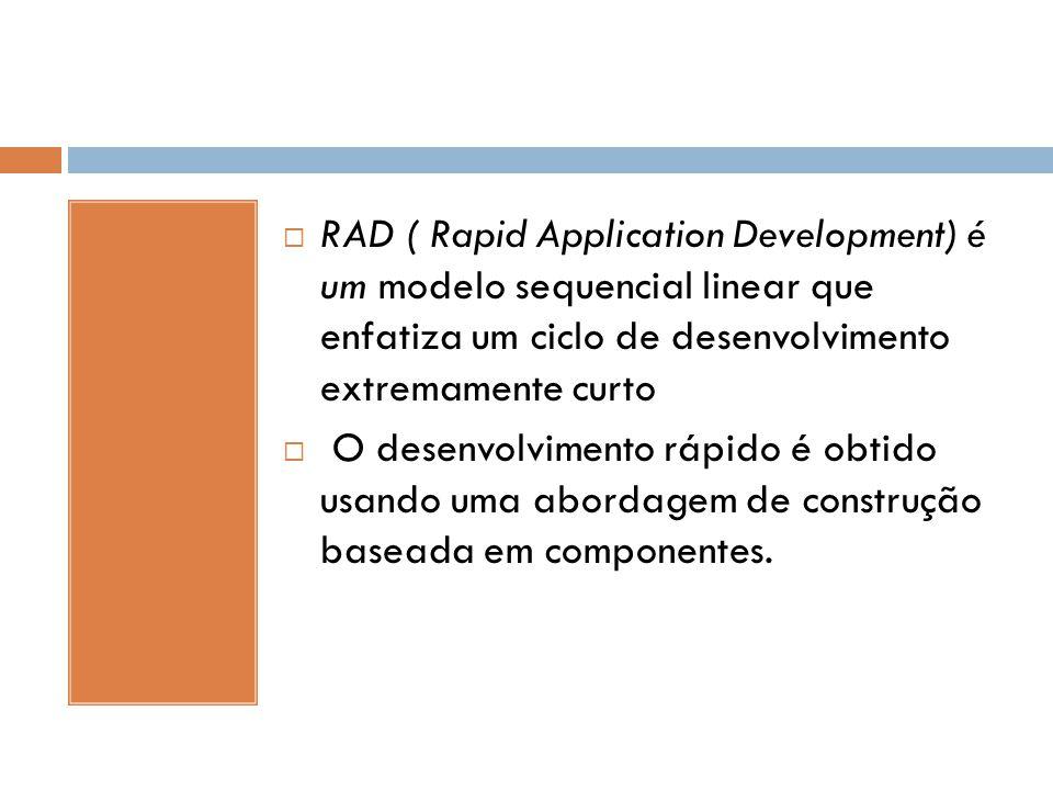  RAD ( Rapid Application Development) é um modelo sequencial linear que enfatiza um ciclo de desenvolvimento extremamente curto  O desenvolvimento r