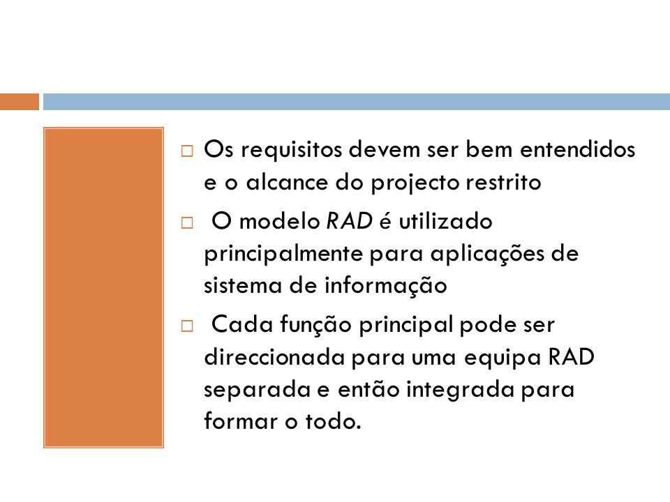  Os requisitos devem ser bem entendidos e o alcance do projecto restrito  O modelo RAD é utilizado principalmente para aplicações de sistema de info