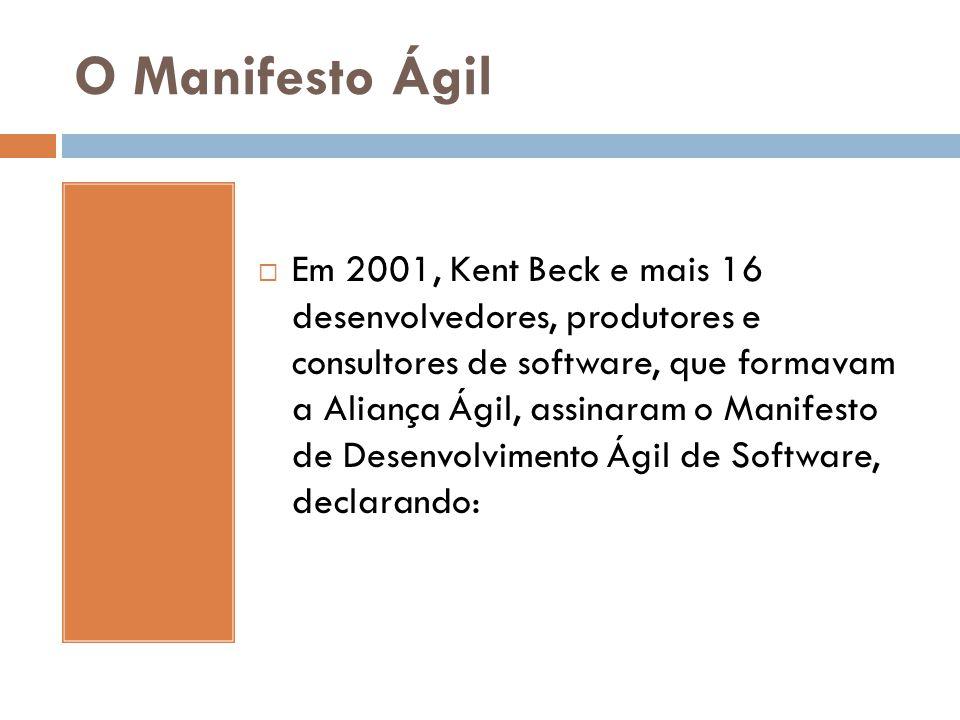O Manifesto Ágil  Em 2001, Kent Beck e mais 16 desenvolvedores, produtores e consultores de software, que formavam a Aliança Ágil, assinaram o Manife