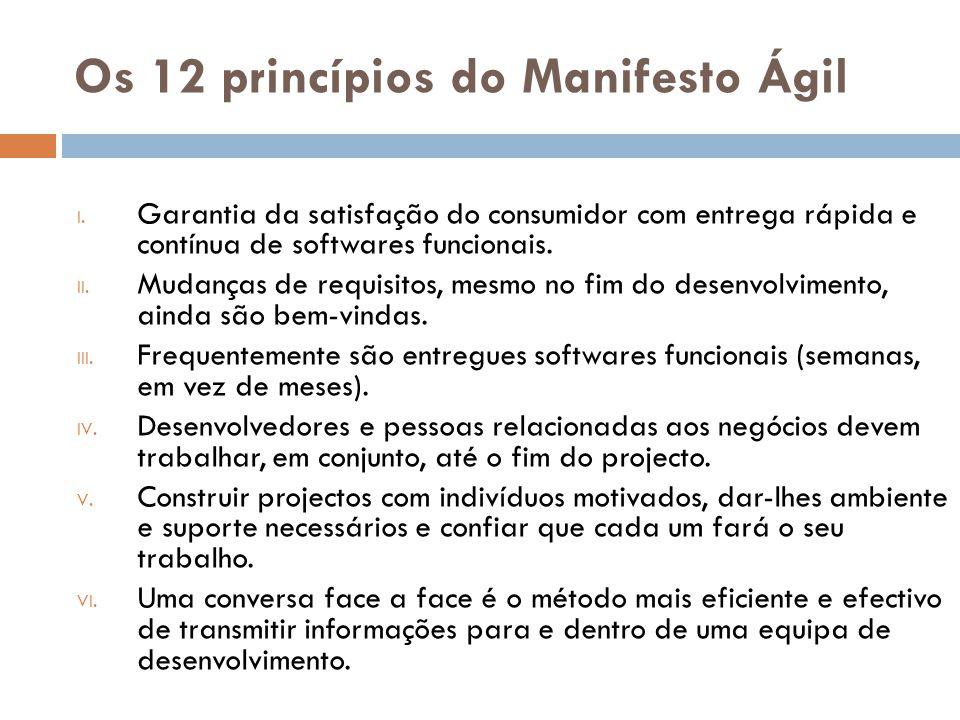 Os 12 princípios do Manifesto Ágil I. Garantia da satisfação do consumidor com entrega rápida e contínua de softwares funcionais. II. Mudanças de requ