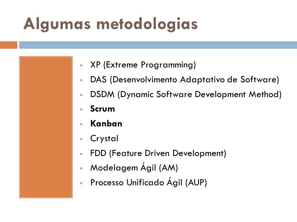 Algumas metodologias  XP (Extreme Programming)  DAS (Desenvolvimento Adaptativo de Software)  DSDM (Dynamic Software Development Method)  Scrum 