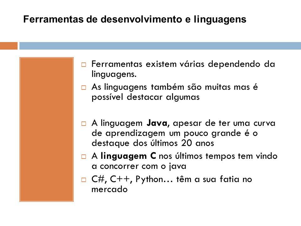 Ferramentas de desenvolvimento e linguagens  Ferramentas existem várias dependendo da linguagens.  As linguagens também são muitas mas é possível de