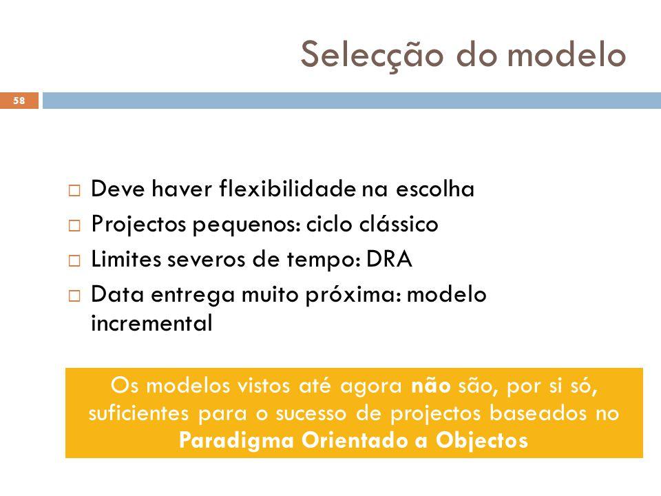 58 Selecção do modelo  Deve haver flexibilidade na escolha  Projectos pequenos: ciclo clássico  Limites severos de tempo: DRA  Data entrega muito
