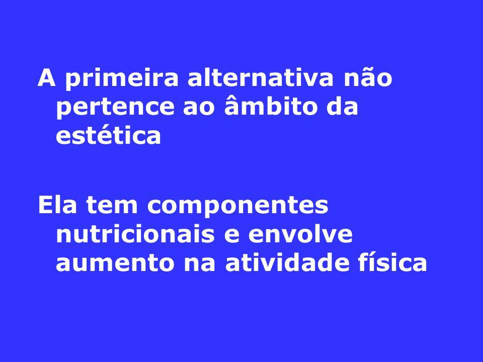 A primeira alternativa não pertence ao âmbito da estética Ela tem componentes nutricionais e envolve aumento na atividade física