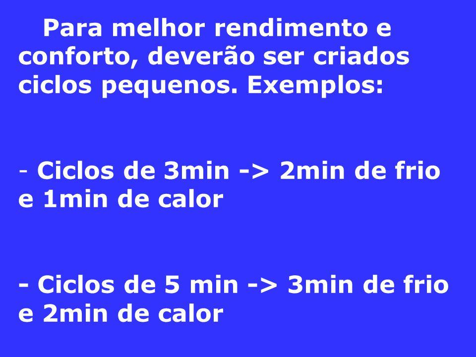 Para melhor rendimento e conforto, deverão ser criados ciclos pequenos. Exemplos: - Ciclos de 3min -> 2min de frio e 1min de calor - Ciclos de 5 min -