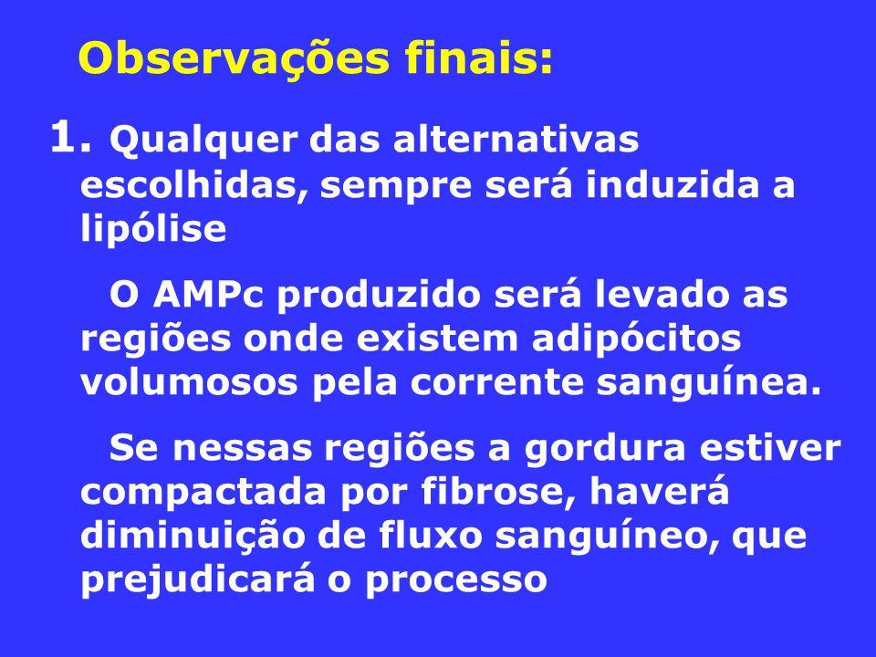 Observações finais: 1. Qualquer das alternativas escolhidas, sempre será induzida a lipólise O AMPc produzido será levado as regiões onde existem adip