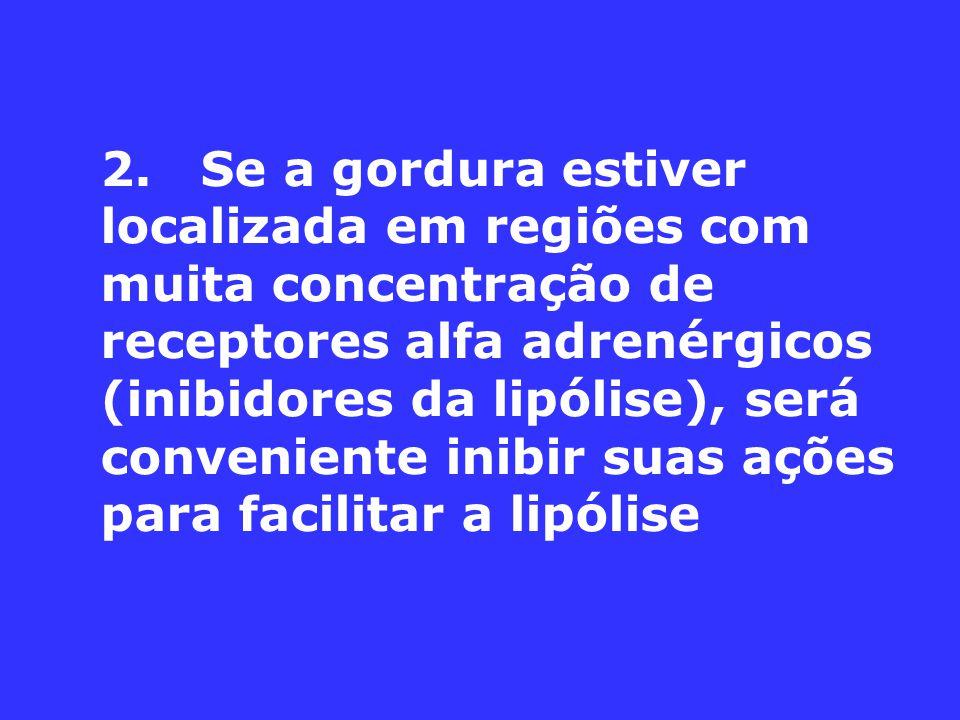 2. Se a gordura estiver localizada em regiões com muita concentração de receptores alfa adrenérgicos (inibidores da lipólise), será conveniente inibir