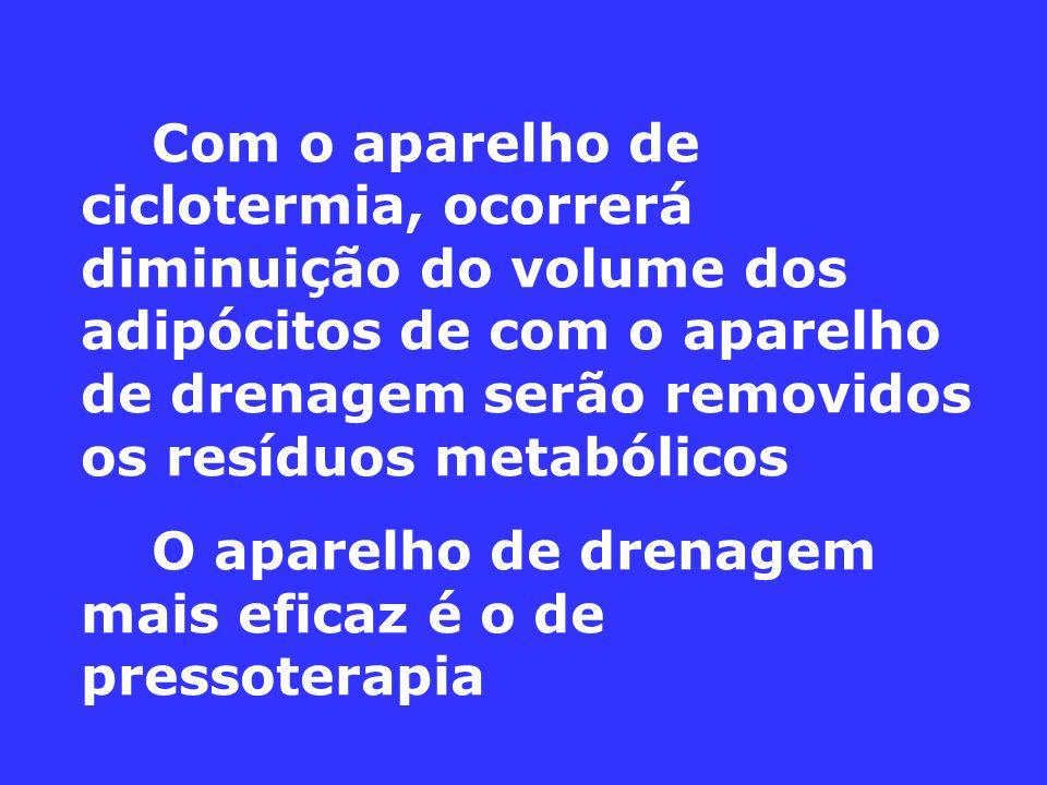 Com o aparelho de ciclotermia, ocorrerá diminuição do volume dos adipócitos de com o aparelho de drenagem serão removidos os resíduos metabólicos O aparelho de drenagem mais eficaz é o de pressoterapia