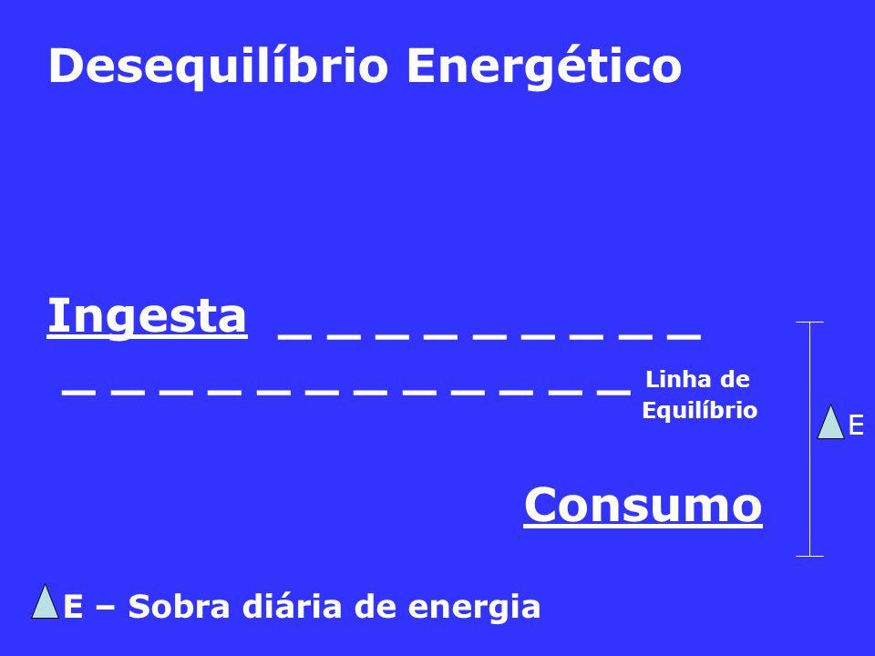 Desequilíbrio Energético Ingesta _ _ _ _ _ _ _ _ _ _ _ _ _ _ _ _ _ _ _ _ _ Linha de Equilíbrio Consumo E – Sobra diária de energia E