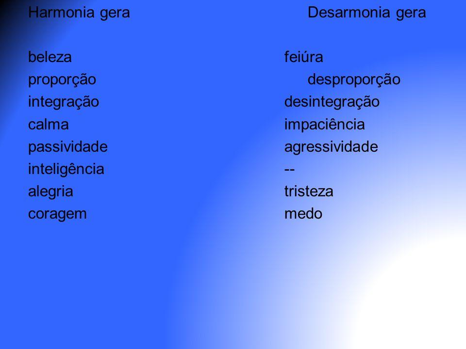 Harmonia geraDesarmonia gera belezafeiúra proporçãodesproporção integraçãodesintegração calmaimpaciência passividadeagressividade inteligência-- alegr