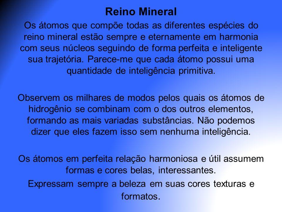 Reino Mineral Os átomos que compõe todas as diferentes espécies do reino mineral estão sempre e eternamente em harmonia com seus núcleos seguindo de f