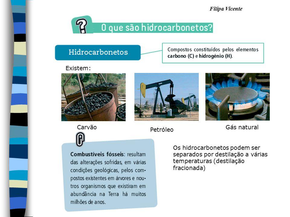Filipa Vicente Carvão Petróleo Gás natural Os hidrocarbonetos podem ser separados por destilação a várias temperaturas (destilação fracionada) Existem
