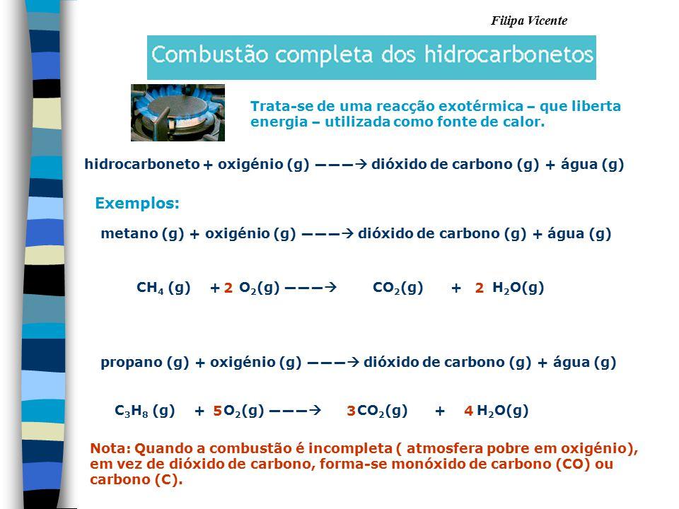 Filipa Vicente hidrocarboneto + oxigénio (g) ―――  dióxido de carbono (g) + água (g) Exemplos: metano (g) + oxigénio (g) ―――  dióxido de carbono (g)