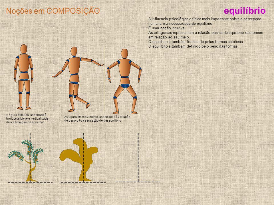 Noções em COMPOSIÇÃO A figura estática, associada à horizontalidade e verticalidade dá a sensação de equilíbrio A influência psicológica e física mais
