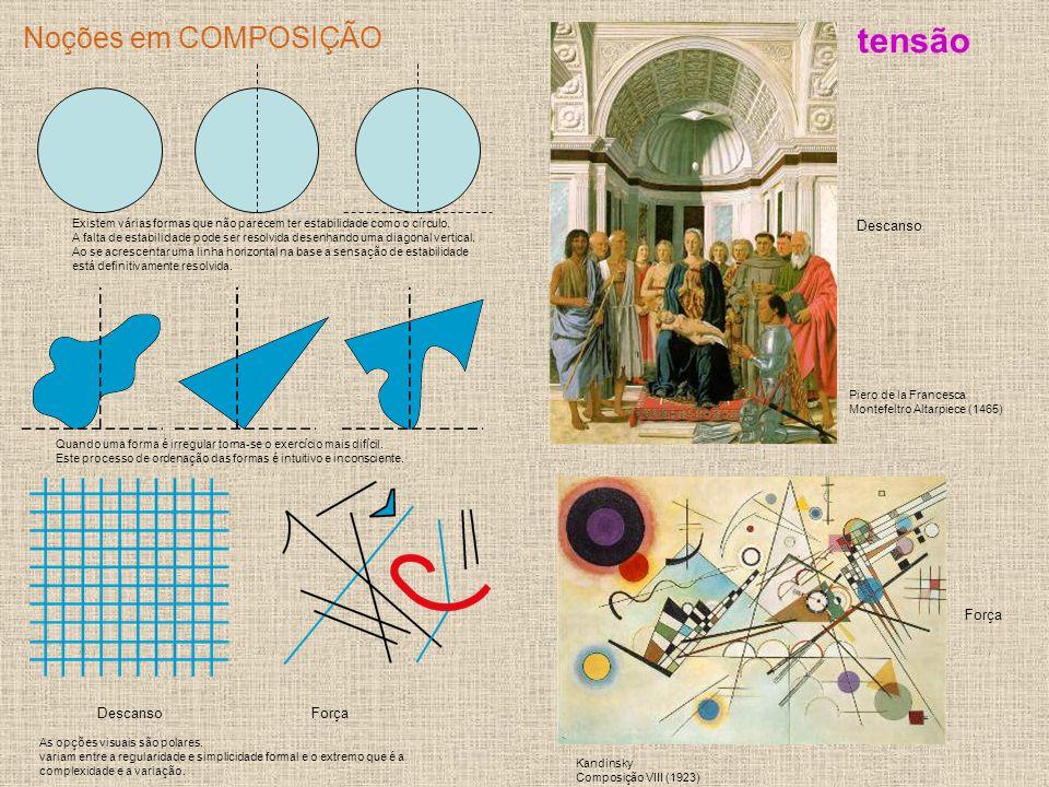 Noções em COMPOSIÇÃO A relação entre a tensão relativa e o equilíbrio relativo manifesta-se nas formas regulares: A representação do raio do círculo provoca uma maior tensão porque o raio não se ajusta ao olho visual .