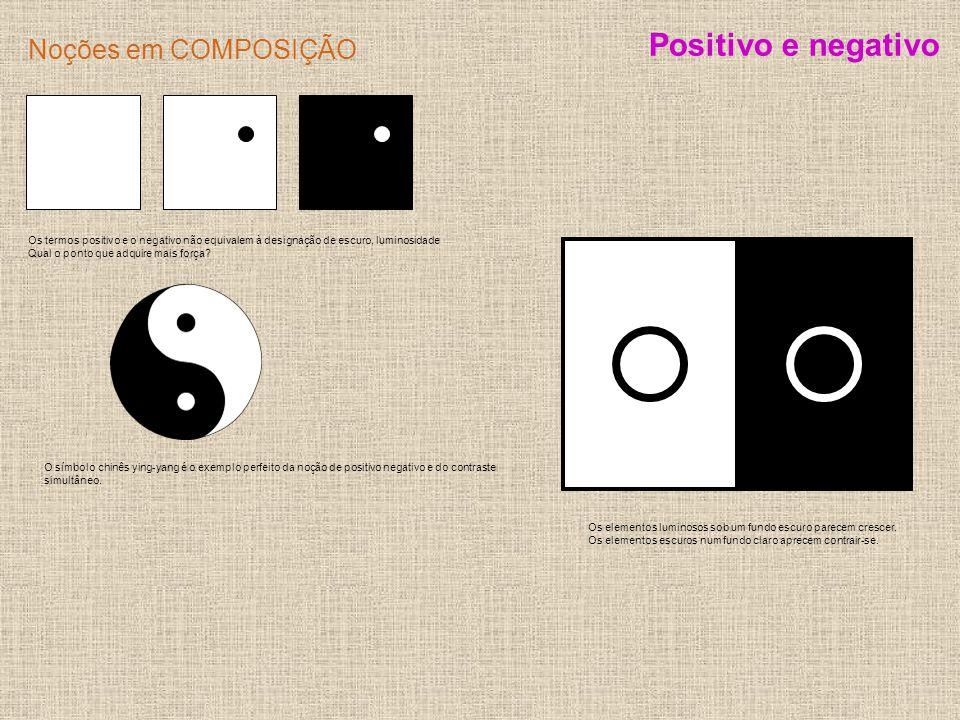 Noções em COMPOSIÇÃO Os termos positivo e o negativo não equivalem à designação de escuro, luminosidade Qual o ponto que adquire mais força? Positivo