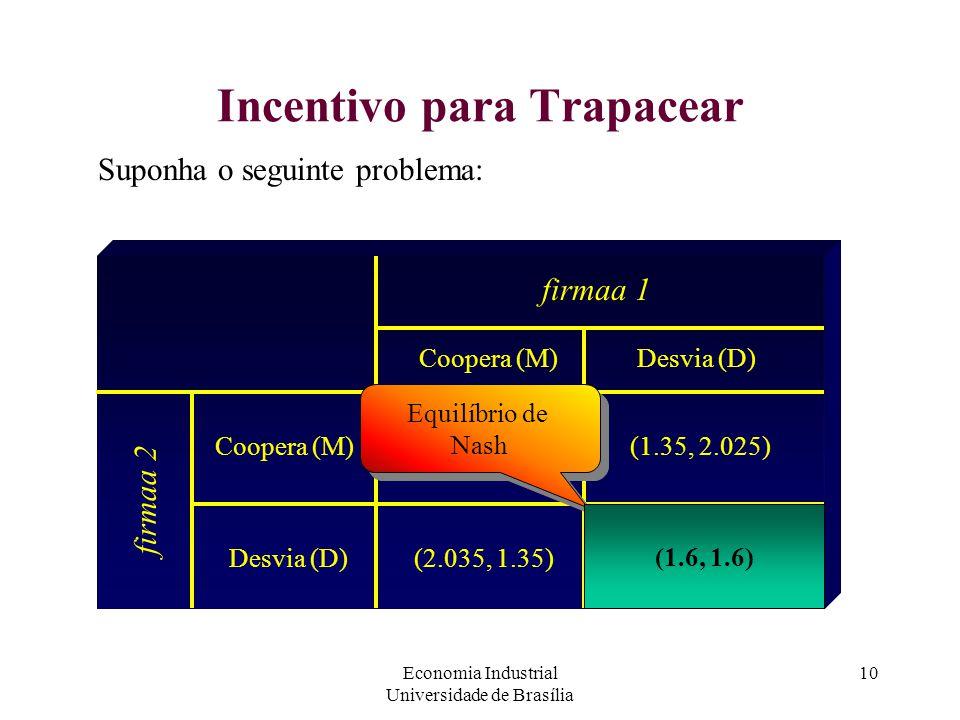 Economia Industrial Universidade de Brasília 10 Incentivo para Trapacear Suponha o seguinte problema: firmaa 1 firmaa 2 Coopera (M) Desvia (D) (1.8, 1