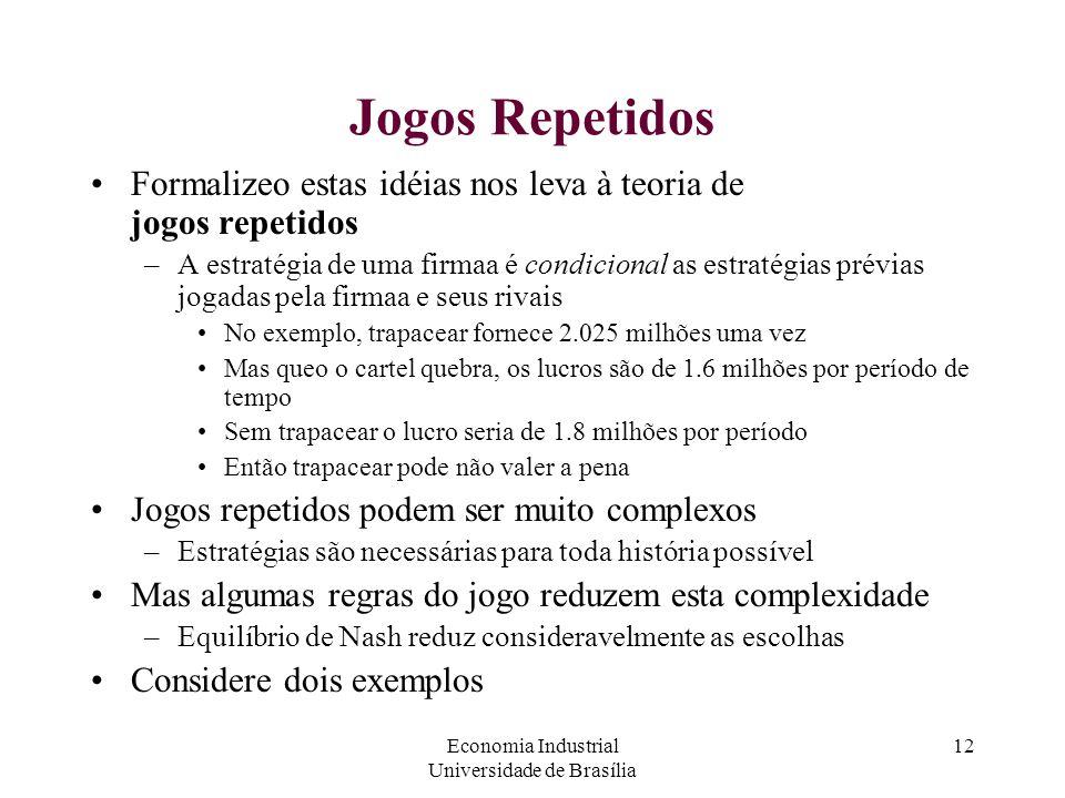 Economia Industrial Universidade de Brasília 12 Jogos Repetidos Formalizeo estas idéias nos leva à teoria de jogos repetidos –A estratégia de uma firm