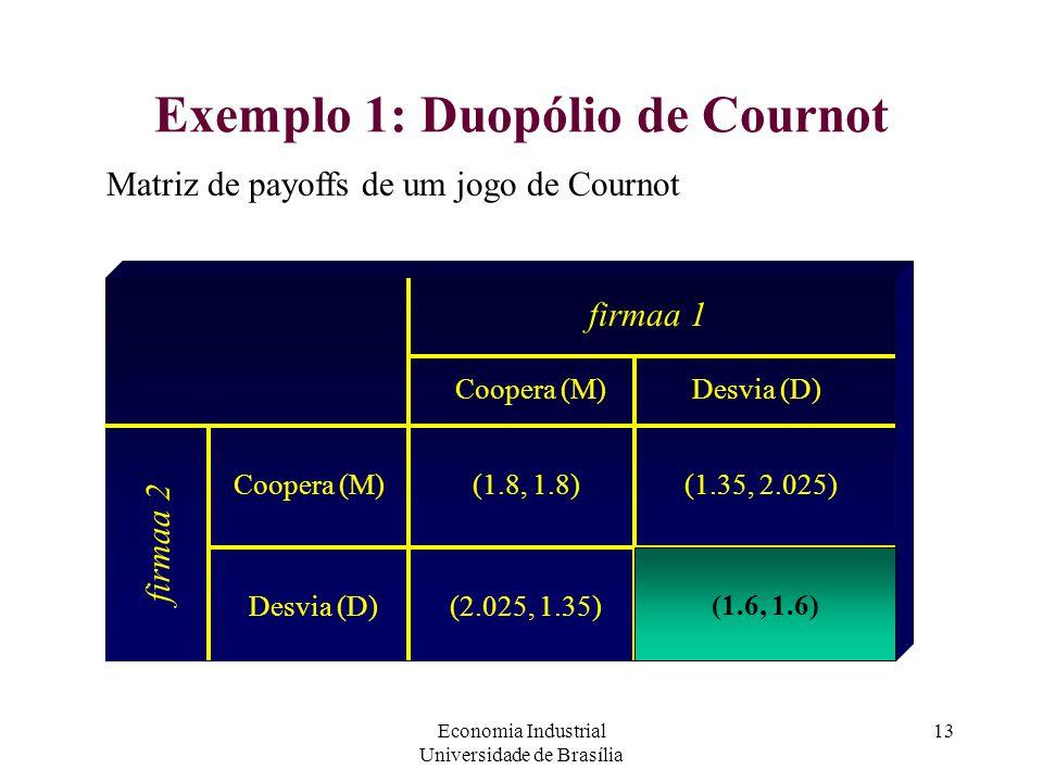 Economia Industrial Universidade de Brasília 13 Exemplo 1: Duopólio de Cournot Matriz de payoffs de um jogo de Cournot firmaa 1 firmaa 2 Coopera (M) D